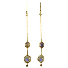 18 Karat Gold Double Labradorite Stick Earrings with Diamond Accent