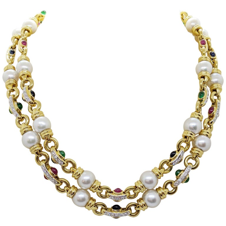 18 Karat Gold Double Strand Necklace with Diamonds Pearls and Colored Gem Stones For Sale
