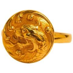18 Karat Gold Dragon Ring