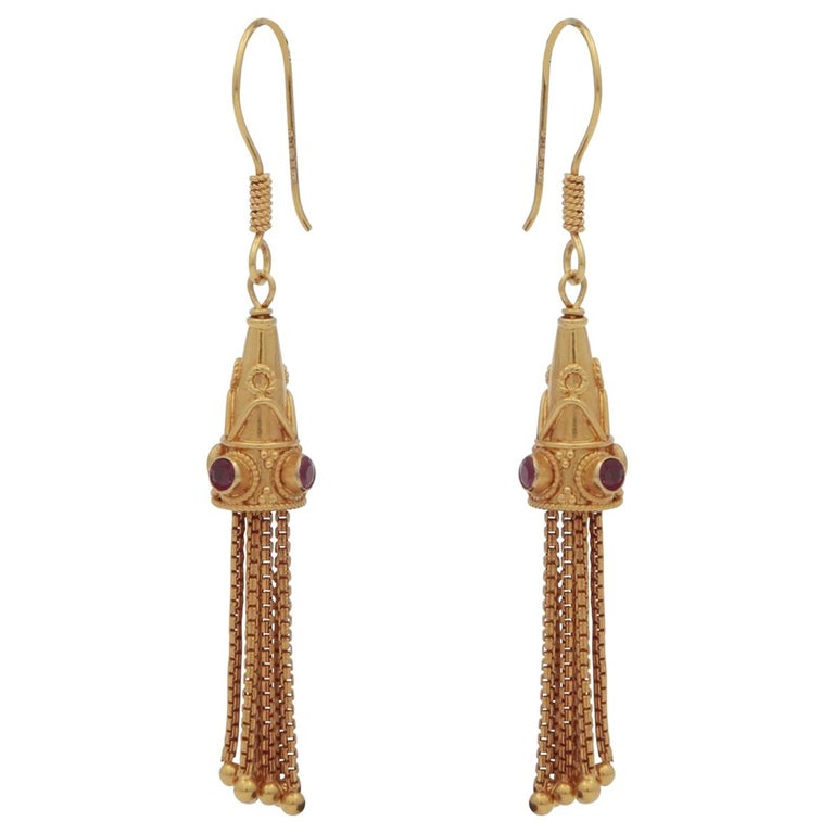 18 Karat Gold Drop Chain and Ruby Earrings For Sale