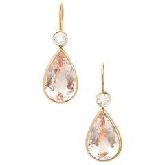 18 Karat Rose Gold Drop Earrings Set with 10.11 Carat Morganites and Diamonds