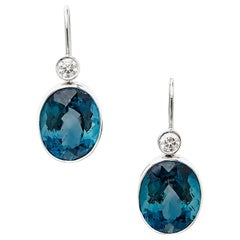 18 Karat White Gold Dangle Earrings Set with 18.62 Carat Blue Topaz and Diamonds