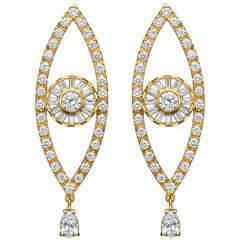 18 Karat Gold Drop Earrings with White Diamonds