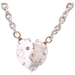 18 Karat Gold Druzy and Diamond Clasp on Sterling Silver and Rose Gold Chain