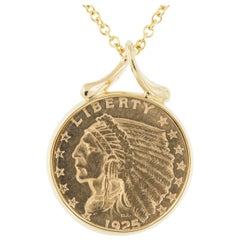 18 Karat Gold Eagle Indian Head $2.50 Coin Pendant Necklace by Michael Bondanza