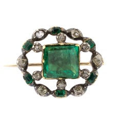 18 Karat Gold Early 19th Century Emeralds Diamonds Brooch