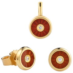 """18-Karat Gold Earrings and Pendant Set """"Harmony"""" with Diamonds and Red Enamel"""