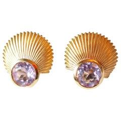 18 Karat Gold Earrings Pink Tourmaline