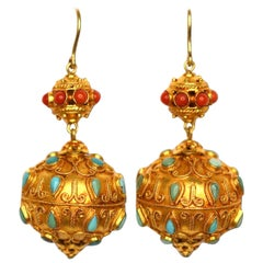 18 Karat Gold Earrings with Coral-set and Turquoise-set Antique Chinese Beads