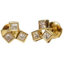 18 Karat Gold Earrings with Diamonds ,Unique, Contemporary Stud Diamond Earrings