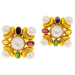 18 Karat Gold Earrings with Mabe Pearls and Multicolored Semi Precious Stones