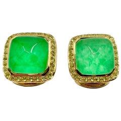 18 Karat Gold Peridot and Triplets Italian earrings