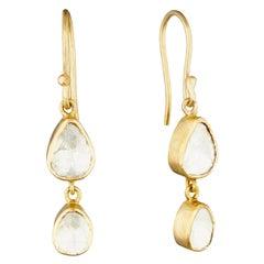 18 Karat Gold Earrings with Two Polki Diamond Stones