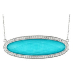 18 Karat Gold East-West Oval Necklace with White Topaz, Turquoise and Diamonds