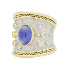18 Karat Gold, Elizabeth Gage 'Templar' Ring with Sapphire and Diamonds