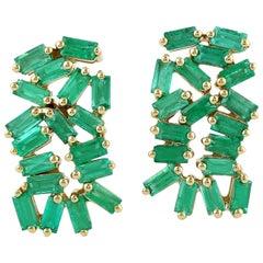 18 Karat Gold Emerald Baguette Stud Earrings