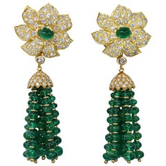 18 Karat Gold, Emerald Bead and Diamond Tassel Pendant Ear-Clips