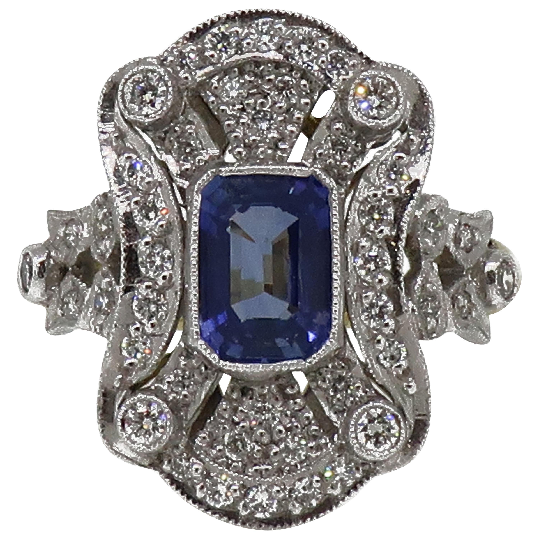 18 Karat Gold Emerald Cut Sapphire and Diamond Art Deco Style Cluster Ring