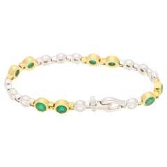 18 Karat Gold Emerald Diamond Bracelet
