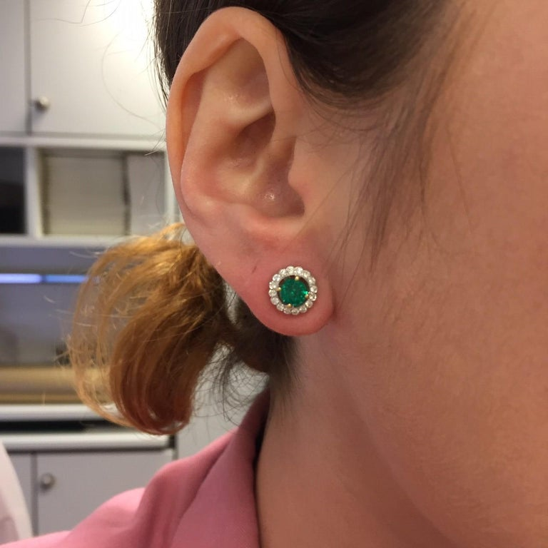 Women's or Men's 18 Karat Gold Emerald Diamond Cluster Stud Earrings For Sale