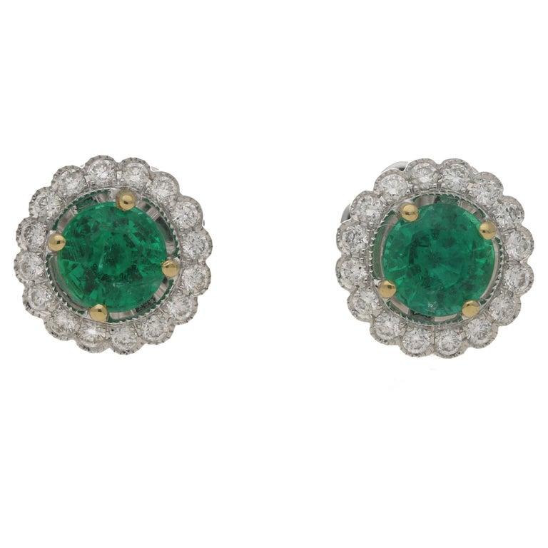 18 Karat Gold Emerald Diamond Cluster Stud Earrings For Sale