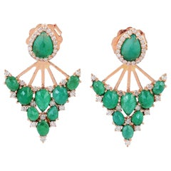 18 Karat Gold Emerald Diamond Ear Jacket Earrings