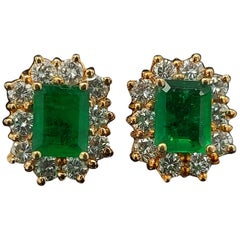 18 Karat Gold Emerald Earrings with Diamonds