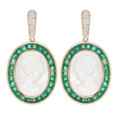18 Karat Gold Emerald Mother of Pearl Carving Diamond Dangler Earrings