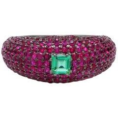 18 Karat Gold Emerald Ruby Cocktail Ring