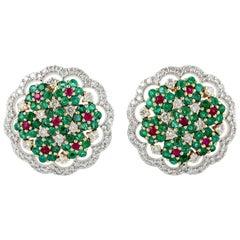 18 Karat Gold Emerald Ruby Diamond Versailles Stud Earrings