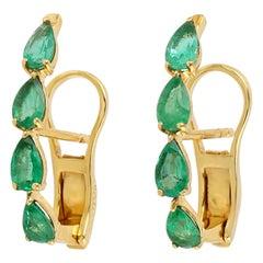 18 Karat Gold Emerald Stud Earrings