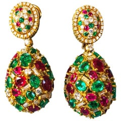 18 Karat Gold Emeralds, Rubies and Diamonds Earrings