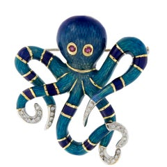 18 Karat Gold Enamel And Diamond Octopus Brooche