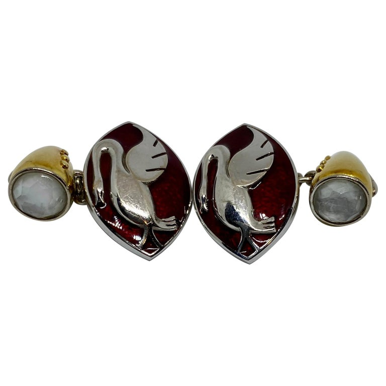 18 Karat Gold, Enamel and Moonstone Cufflinks Made for a Motor Car Enthusiast For Sale