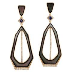 18 Karat Gold Enamel Blue Sapphire Diamond Earrings
