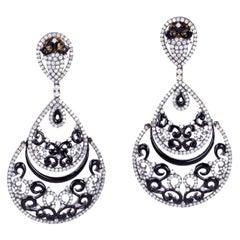 18 Karat Gold Enamel Diamond Earrings