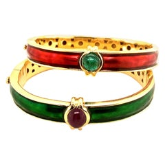 18 Karat Gold Enamel Emerald Ruby Bangle Bracelets