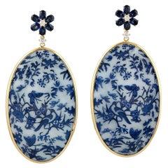 18 Karat Gold Enamel Hand Painted Blue Bird Diamond Earrings