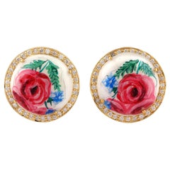18 Karat Gold Enamel Mother of Pearl Floral Rose Diamond Stud Earrings