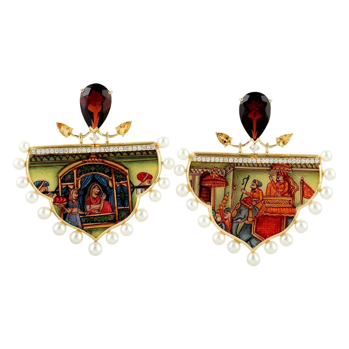 Enamel Garnet Citrine Diamond 18 Karat Gold Earrings