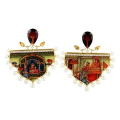 18 Karat Gold Enamel Mother of Pearl Garnet Citrine Diamond Earrings