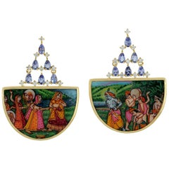 18 Karat Gold Enamel Mother of Pearl Tanzanite and Diamond Earrings
