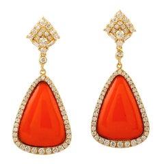 Enamel Sunset Diamond 18 Karat Gold Orange Earrings