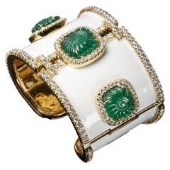18 Karat Gold, Enamel, Zambian Carved Emerald and Diamond Cuff