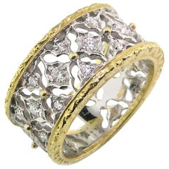 18 Karat Gold Engraved Diamond Harlequin Band, Handmade in Florence, Italy