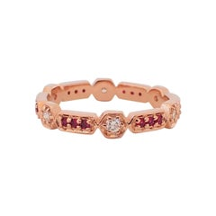 18 Karat Gold Eternity Band with 0.19 Carat of Diamond and 0.20 Carat of Ruby