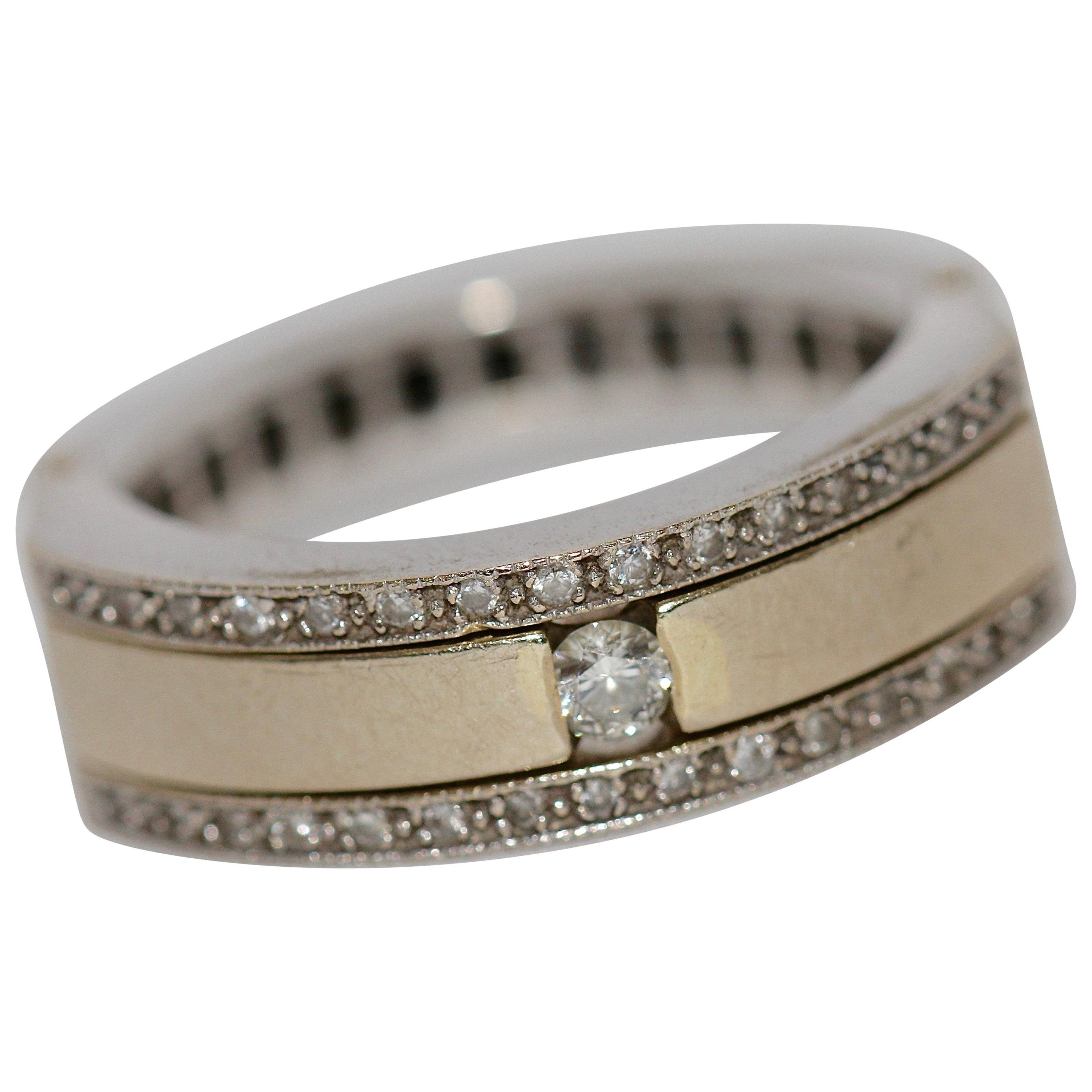 18 Karat Gold Eternity, Transformation Memory Ring with black and white Diamonds