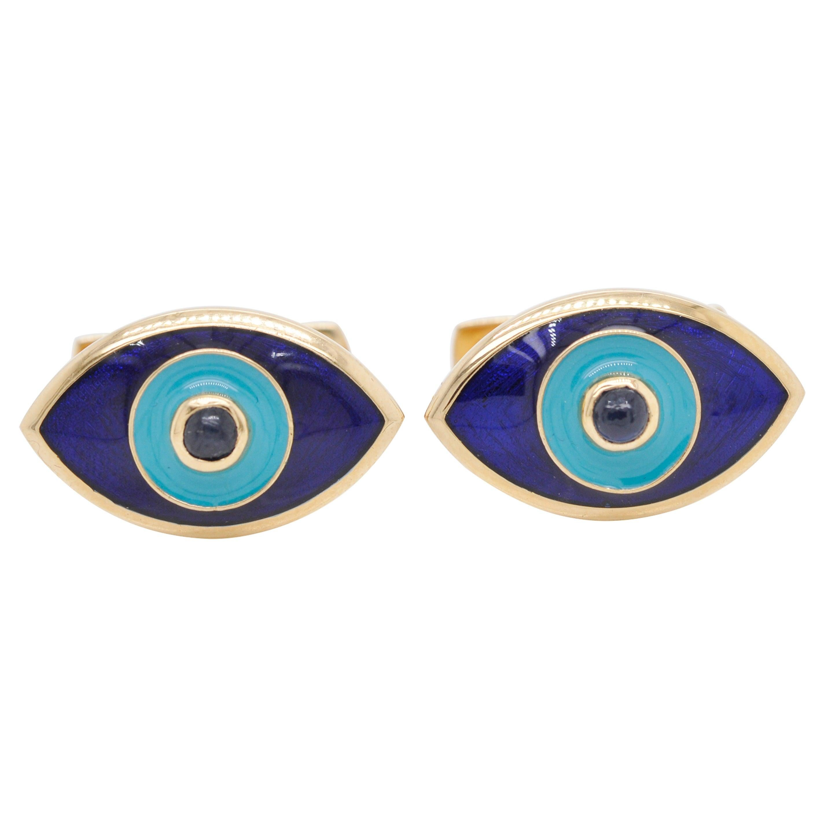 18 Karat Gold Evil Eye Enamel Blue Sapphire Cufflinks