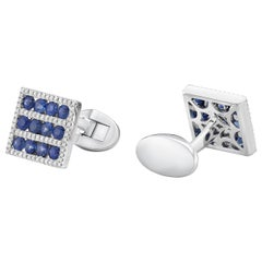 18 Karat Gold, F Color, VS Clarity, Blue Sapphire Paved Square Cufflinks