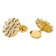 18 Karat Gold, F Color, VS Clarity, Diamond Paved Circle Cufflinks